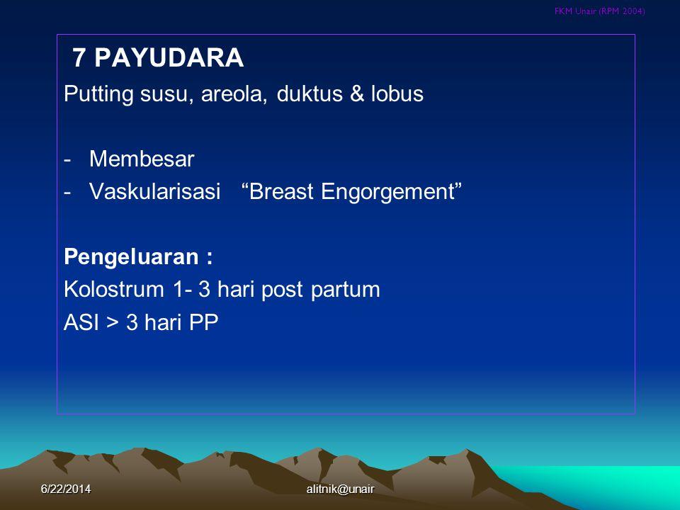 """FKM Unair (RPM 2004) 7 PAYUDARA Putting susu, areola, duktus & lobus -Membesar -Vaskularisasi """"Breast Engorgement"""" Pengeluaran : Kolostrum 1- 3 hari p"""