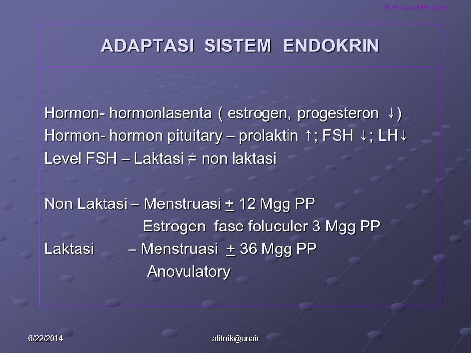 FKM Unair (RPM 2004) ADAPTASI SISTEM ENDOKRIN Hormon- hormonlasenta ( estrogen, progesteron ↓) Hormon- hormon pituitary – prolaktin ↑; FSH ↓ ; LH ↓ Le