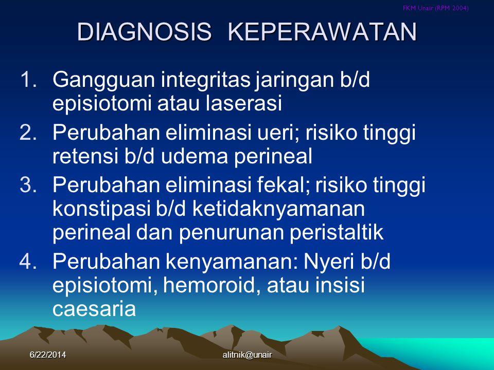 FKM Unair (RPM 2004) DIAGNOSIS KEPERAWATAN 1.Gangguan integritas jaringan b/d episiotomi atau laserasi 2.Perubahan eliminasi ueri; risiko tinggi reten