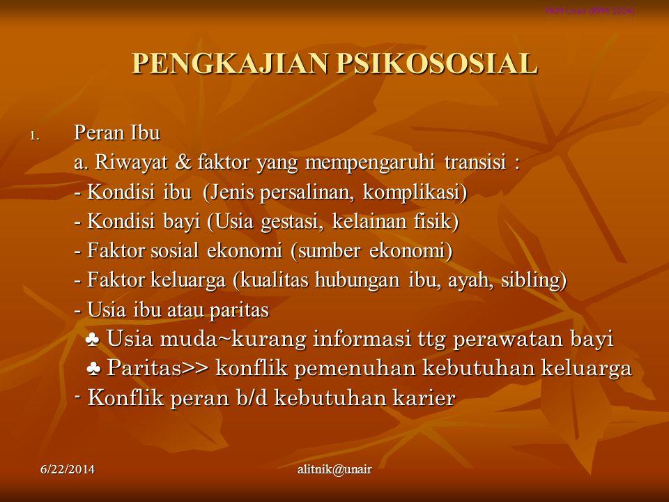 FKM Unair (RPM 2004) PENGKAJIAN PSIKOSOSIAL 1. Peran Ibu a. Riwayat & faktor yang mempengaruhi transisi : - Kondisi ibu (Jenis persalinan, komplikasi)
