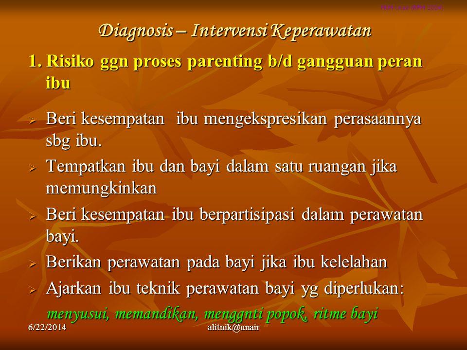 FKM Unair (RPM 2004) Diagnosis – Intervensi Keperawatan 1. Risiko ggn proses parenting b/d gangguan peran ibu  Beri kesempatan ibu mengekspresikan pe