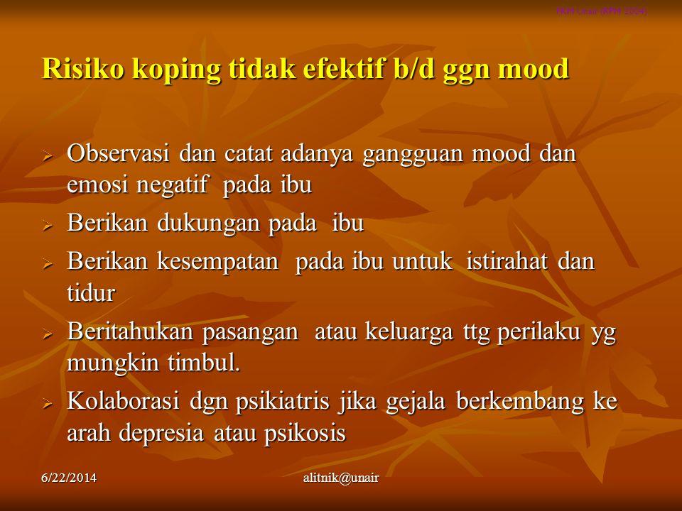 FKM Unair (RPM 2004) Risiko koping tidak efektif b/d ggn mood  Observasi dan catat adanya gangguan mood dan emosi negatif pada ibu  Berikan dukungan