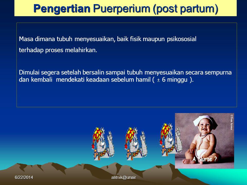 FKM Unair (RPM 2004) Pengertian Puerperium (post partum) Masa dimana tubuh menyesuaikan, baik fisik maupun psikososial terhadap proses melahirkan. Dim