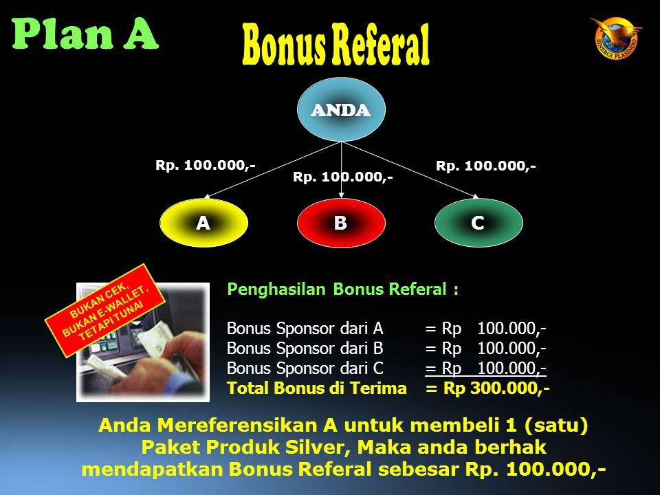 A Penghasilan Bonus Referal : Bonus Sponsor dari A= Rp 100.000,- Bonus Sponsor dari B= Rp 100.000,- Bonus Sponsor dari C= Rp 100.000,- Total Bonus di Terima= Rp 300.000,- C B Rp.