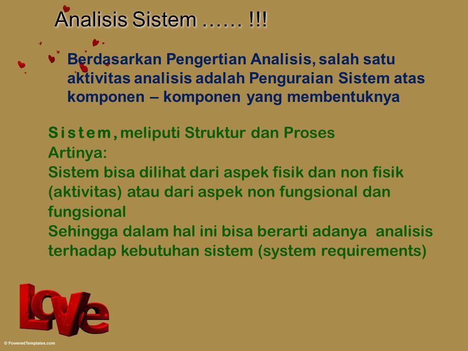 Analisis Sistem …… !!! Berdasarkan Pengertian Analisis, salah satu aktivitas analisis adalah Penguraian Sistem atas komponen – komponen yang membentuk