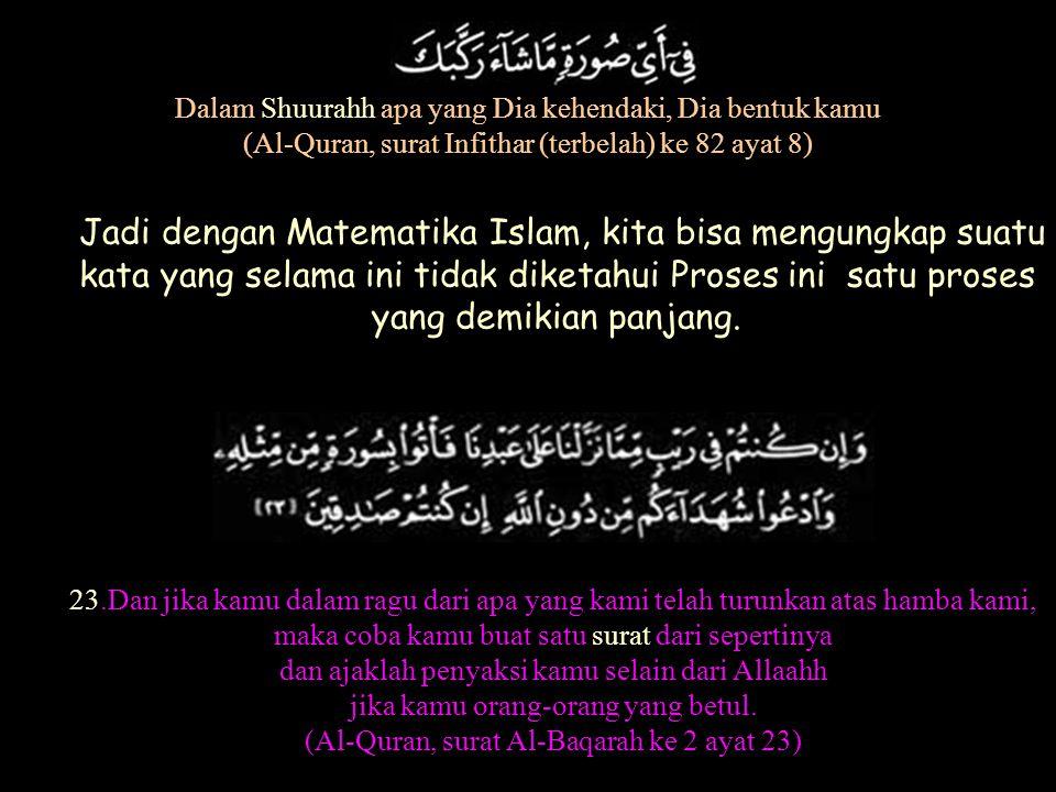 Proses penggabungan itu sbb: Gambar ini terbentuk dari surat-surat Al-Quran. Kata suratnya pakai Huruf SIN. Seperti disebut pada ayat 23 surat ke 2. 2