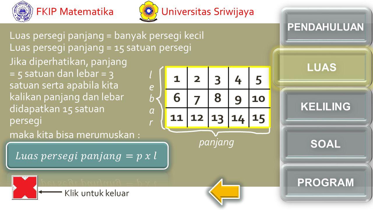 Klik untuk keluar Luas persegi panjang = banyak persegi kecil Luas persegi panjang = 15 satuan persegi Jika diperhatikan, panjang = 5 satuan dan lebar = 3 satuan serta apabila kita kalikan panjang dan lebar didapatkan 15 satuan persegi lebarlebar panjang maka kita bisa merumuskan : Universitas SriwijayaFKIP Matematika