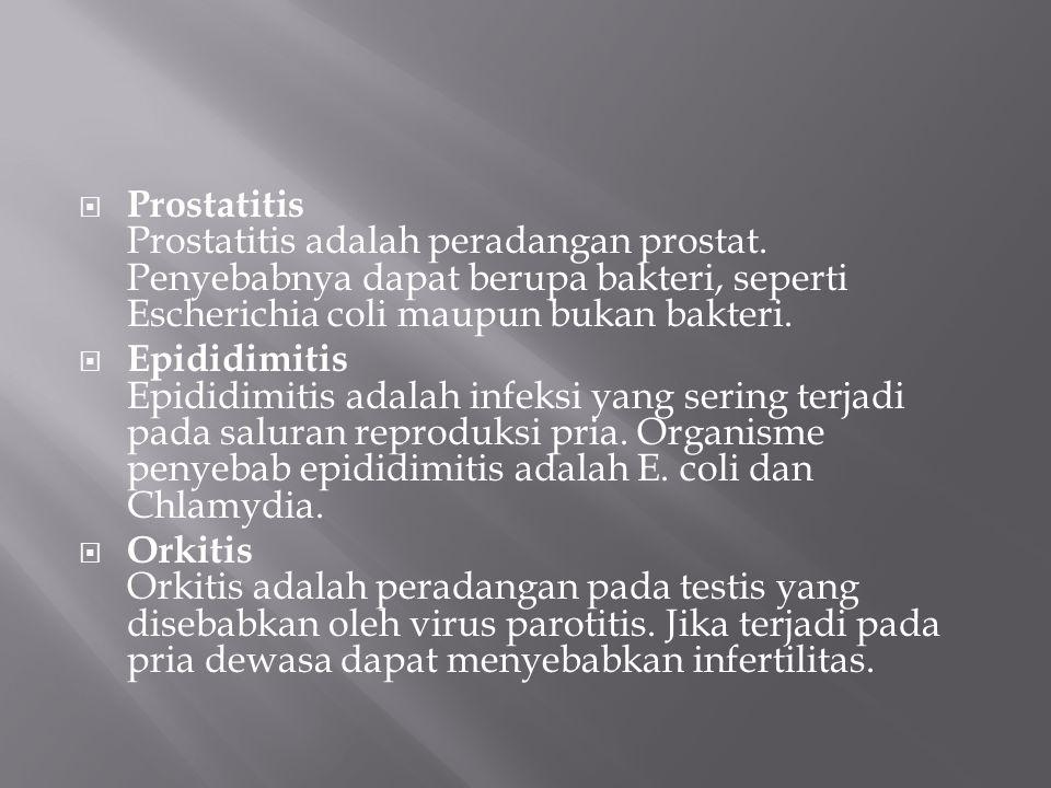  Prostatitis Prostatitis adalah peradangan prostat.