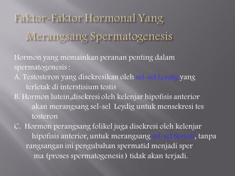 Hormon yang memainkan peranan penting dalam spermatogenesis : A.