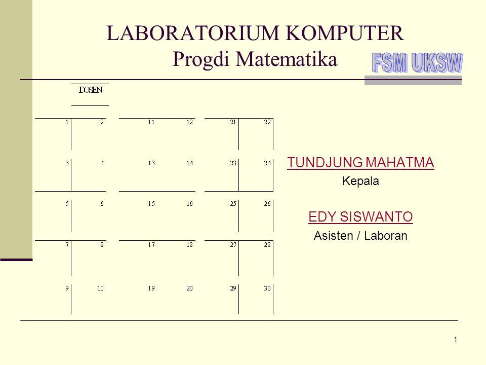 2 Sistem dan Penggunaan Lab Pengguna komputer di Labkom FSM  Dosen dan staf non-dosen  Para Asisten praktikum  Mahasiswa peserta kuliah praktikum  Mahasiswa dengan keperluan khusus  Tamu FSM Sistem Komputer  PC : Windows XP (masih ada dua Win98)  Jaringan : Windows 2003