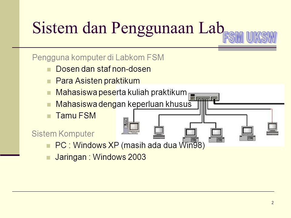 2 Sistem dan Penggunaan Lab Pengguna komputer di Labkom FSM  Dosen dan staf non-dosen  Para Asisten praktikum  Mahasiswa peserta kuliah praktikum 
