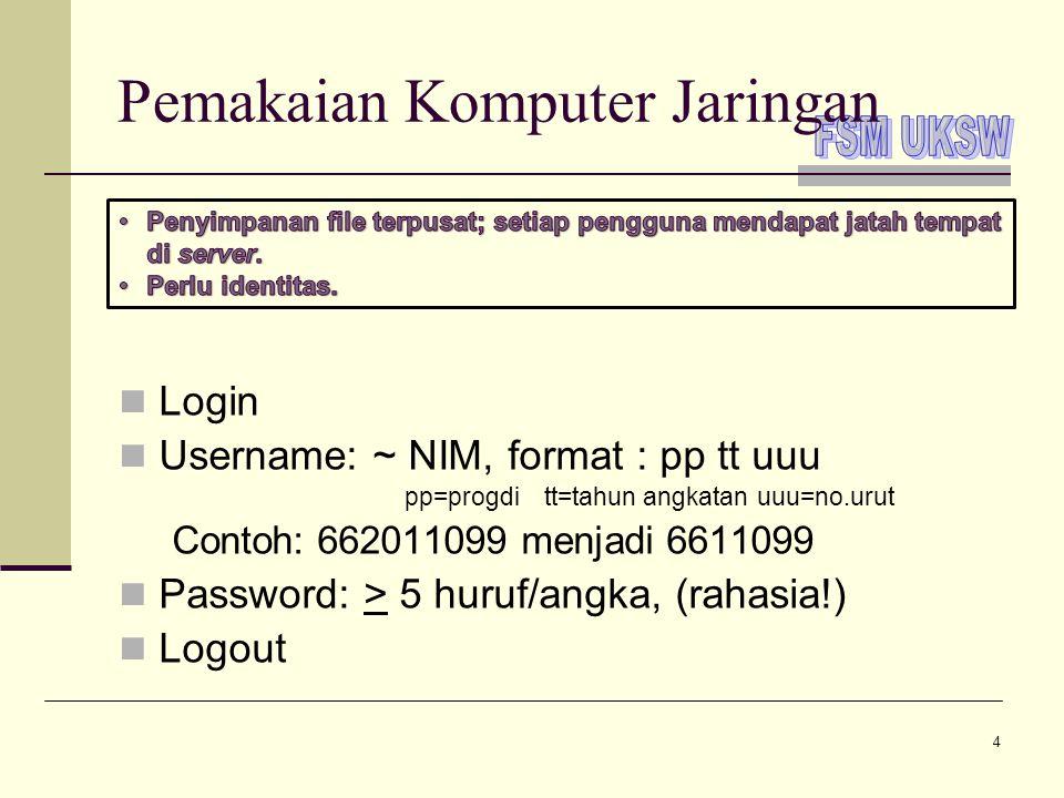 4 Pemakaian Komputer Jaringan  Login  Username: ~ NIM, format : pp tt uuu pp=progditt=tahun angkatanuuu=no.urut Contoh: 662011099 menjadi 6611099 