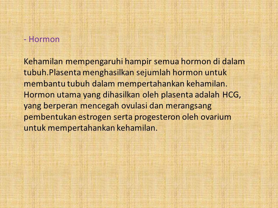- Hormon Kehamilan mempengaruhi hampir semua hormon di dalam tubuh.Plasenta menghasilkan sejumlah hormon untuk membantu tubuh dalam mempertahankan keh