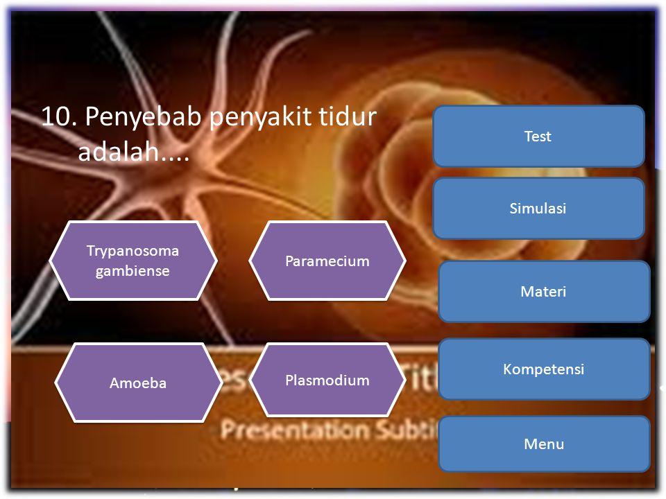 10. Penyebab penyakit tidur adalah.... Menu Kompetensi Materi Simulasi Test Trypanosoma gambiense Trypanosoma gambiense Plasmodium Amoeba Paramecium