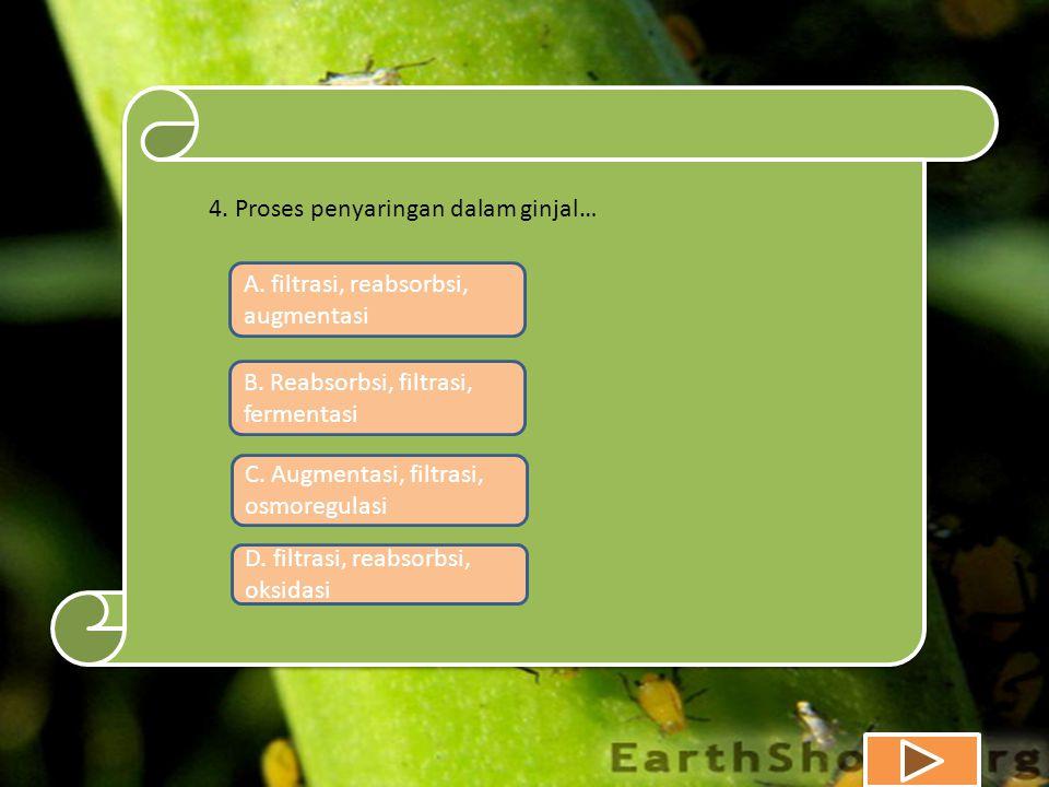 A. filtrasi, reabsorbsi, augmentasi B. Reabsorbsi, filtrasi, fermentasi C.