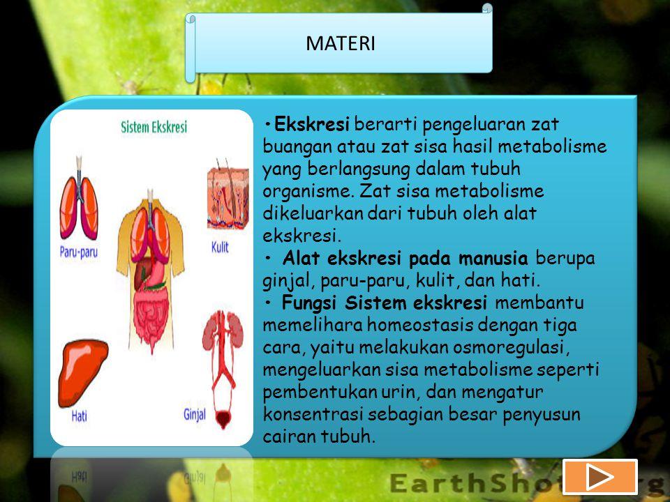 MATERI •Ekskresi berarti pengeluaran zat buangan atau zat sisa hasil metabolisme yang berlangsung dalam tubuh organisme.