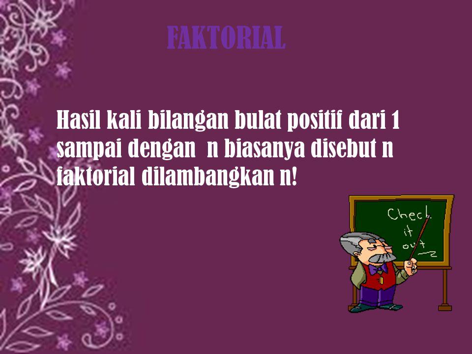 FAKTORIAL Hasil kali bilangan bulat positif dari 1 sampai dengan n biasanya disebut n faktorial dilambangkan n!
