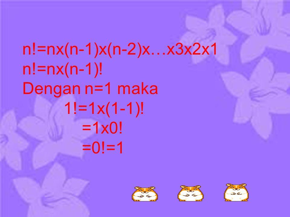 n!=nx(n-1)x(n-2)x…x3x2x1 n!=nx(n-1)! Dengan n=1 maka 1!=1x(1-1)! =1x0! =0!=1