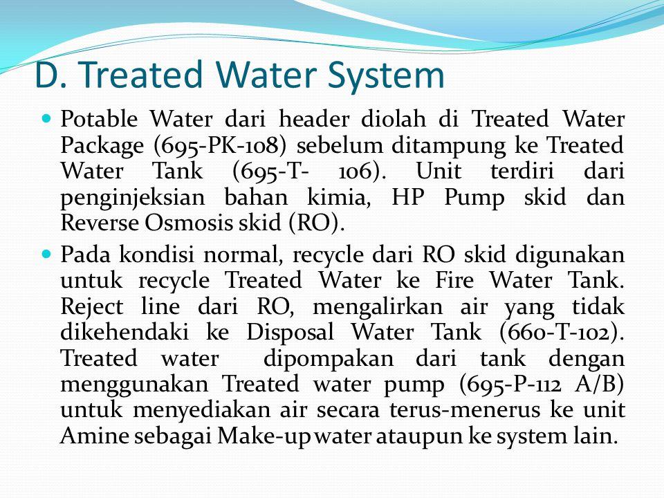 D. Treated Water System  Potable Water dari header diolah di Treated Water Package (695-PK-108) sebelum ditampung ke Treated Water Tank (695-T- 106).