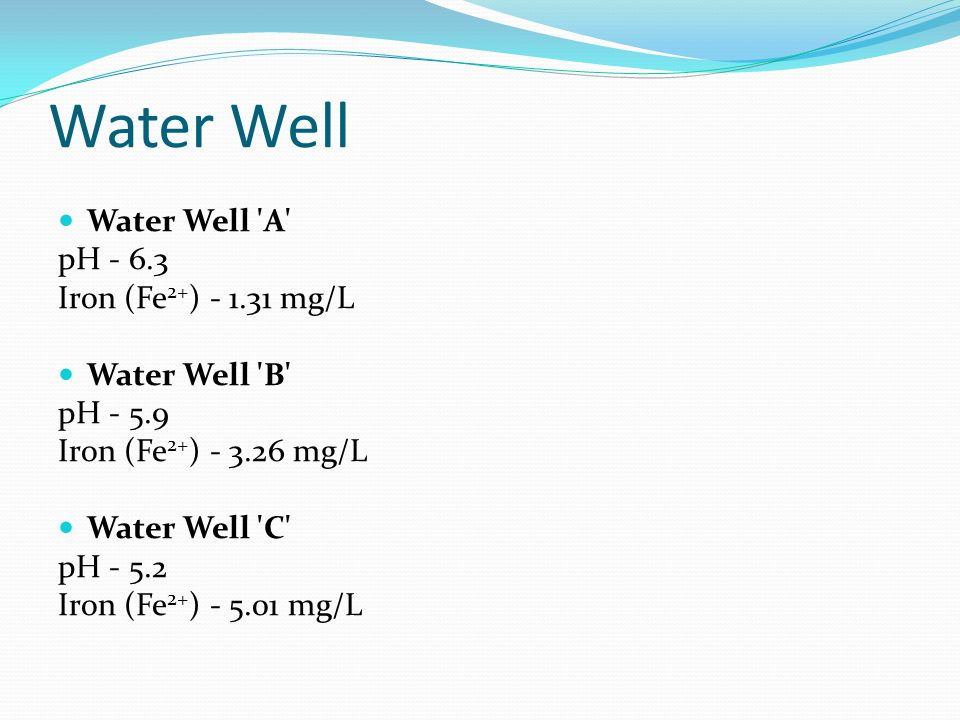 Water Well  Water Well 'A' pH - 6.3 Iron (Fe 2+ ) - 1.31 mg/L  Water Well 'B' pH - 5.9 Iron (Fe 2+ ) - 3.26 mg/L  Water Well 'C' pH - 5.2 Iron (Fe