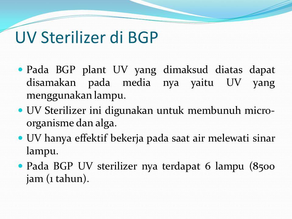 UV Sterilizer di BGP  Pada BGP plant UV yang dimaksud diatas dapat disamakan pada media nya yaitu UV yang menggunakan lampu.