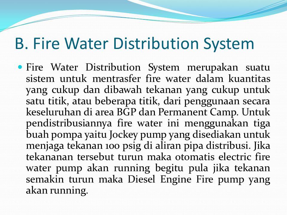 B. Fire Water Distribution System  Fire Water Distribution System merupakan suatu sistem untuk mentrasfer fire water dalam kuantitas yang cukup dan d