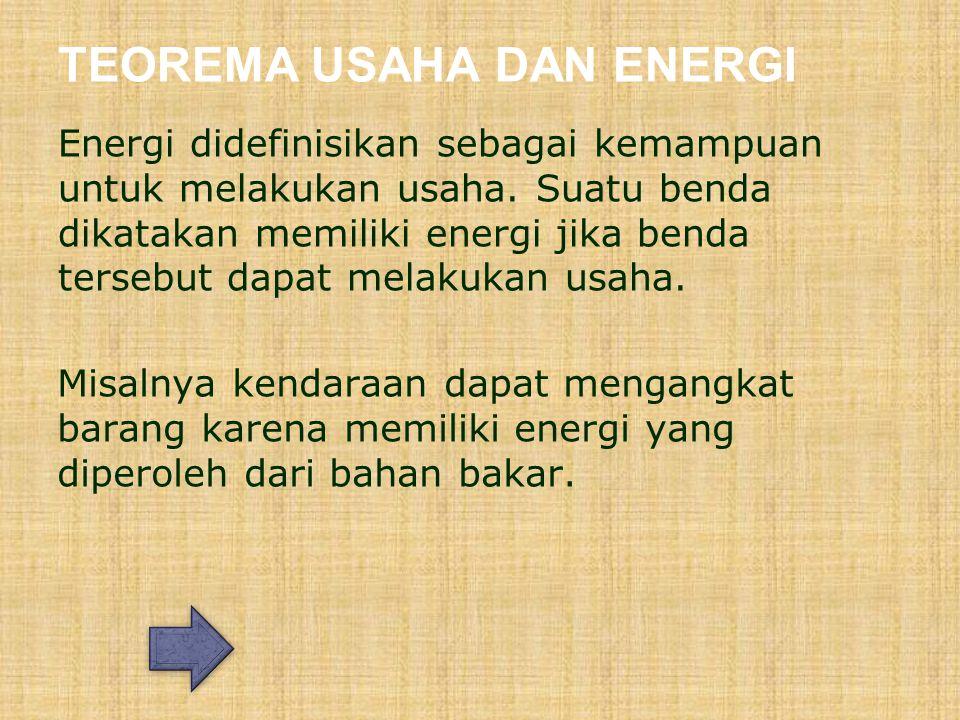 TEOREMA USAHA DAN ENERGI Energi didefinisikan sebagai kemampuan untuk melakukan usaha.