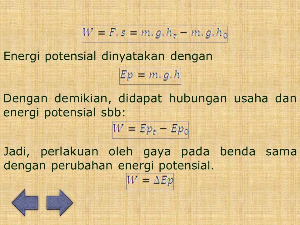 Energi potensial dinyatakan dengan Dengan demikian, didapat hubungan usaha dan energi potensial sbb: Jadi, perlakuan oleh gaya pada benda sama dengan perubahan energi potensial.