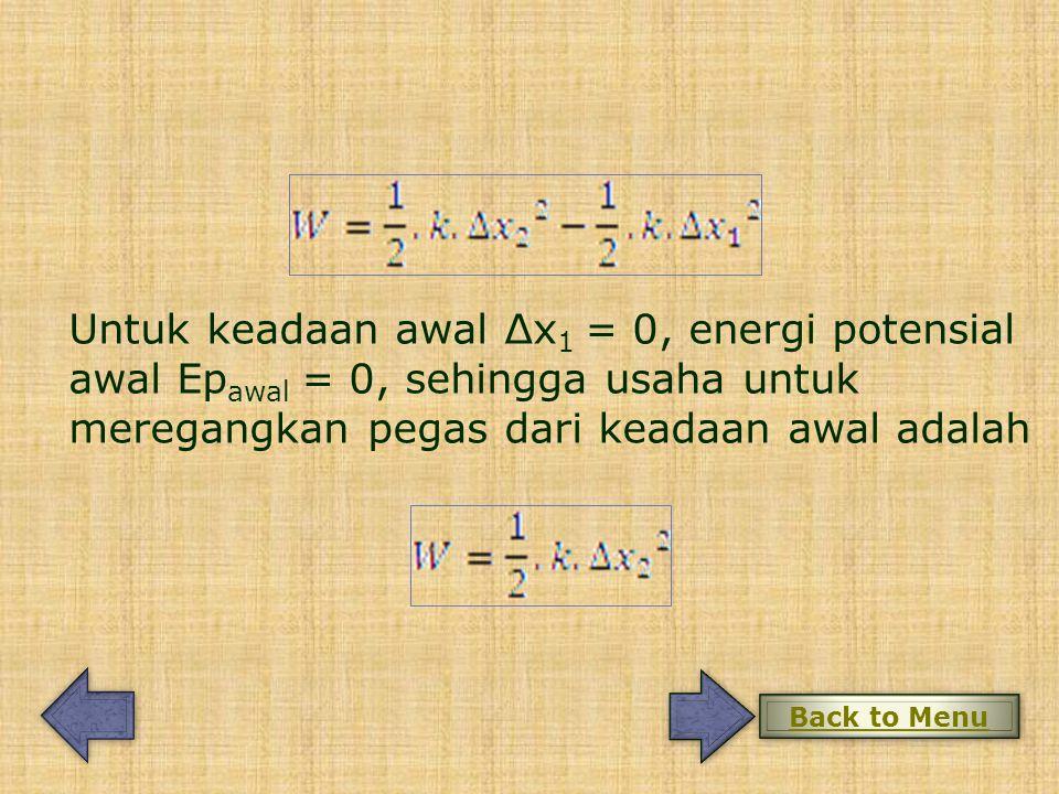 Untuk keadaan awal Δx 1 = 0, energi potensial awal Ep awal = 0, sehingga usaha untuk meregangkan pegas dari keadaan awal adalah Back to Menu