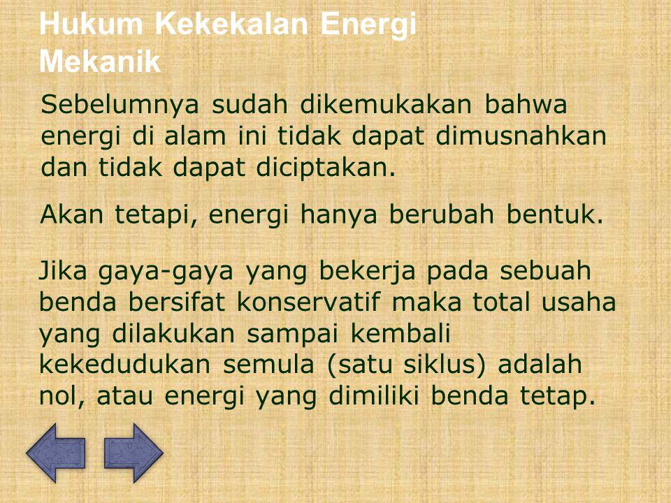 Hukum Kekekalan Energi Mekanik Sebelumnya sudah dikemukakan bahwa energi di alam ini tidak dapat dimusnahkan dan tidak dapat diciptakan.