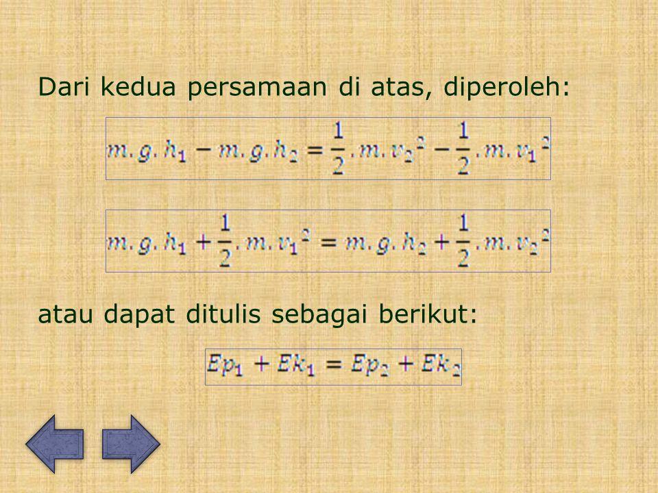 Dari kedua persamaan di atas, diperoleh: atau dapat ditulis sebagai berikut: