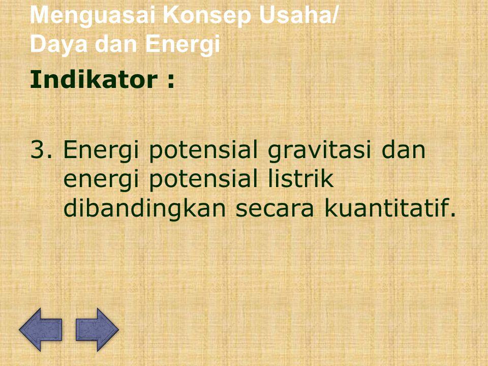 Menguasai Konsep Usaha/ Daya dan Energi Indikator : 3.