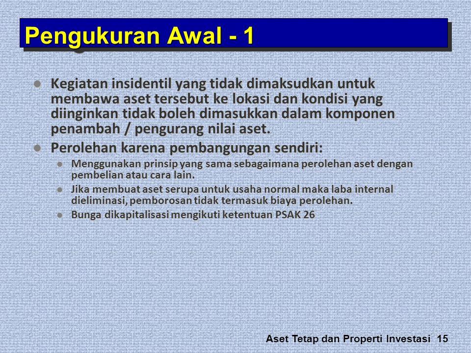 Aset Tetap dan Properti Investasi 15  Kegiatan insidentil yang tidak dimaksudkan untuk membawa aset tersebut ke lokasi dan kondisi yang diinginkan ti