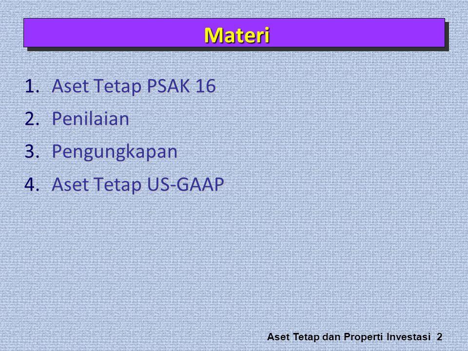 Aset Tetap dan Properti Investasi 2 1.Aset Tetap PSAK 16 2.Penilaian 3.Pengungkapan 4.Aset Tetap US-GAAP MateriMateri
