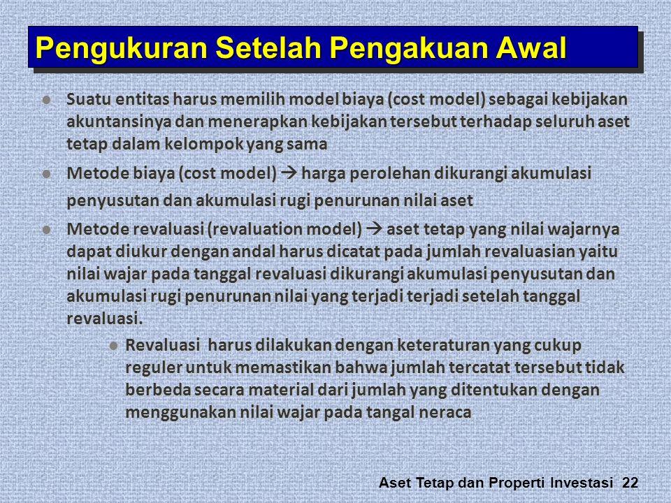 Aset Tetap dan Properti Investasi 22  Suatu entitas harus memilih model biaya (cost model) sebagai kebijakan akuntansinya dan menerapkan kebijakan te