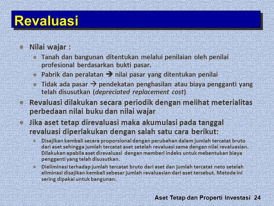 Aset Tetap dan Properti Investasi 24  Nilai wajar :  Tanah dan bangunan ditentukan melalui penilaian oleh penilai profesional berdasarkan bukti pasa