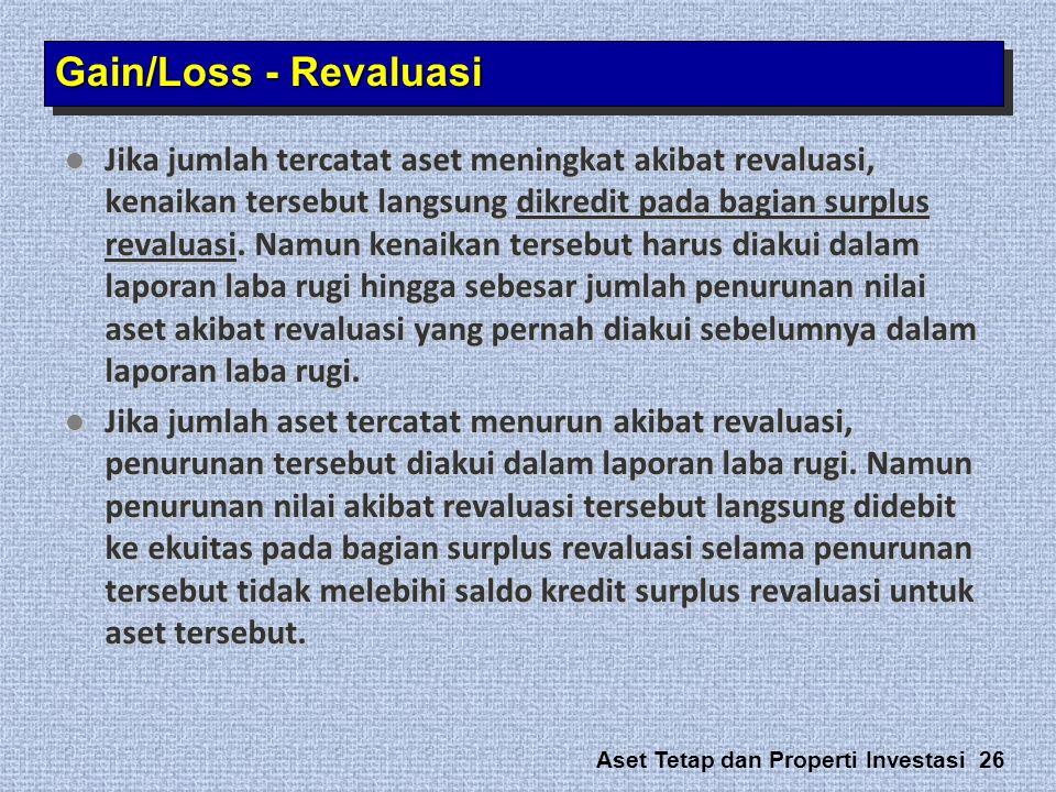 Aset Tetap dan Properti Investasi 26  Jika jumlah tercatat aset meningkat akibat revaluasi, kenaikan tersebut langsung dikredit pada bagian surplus r