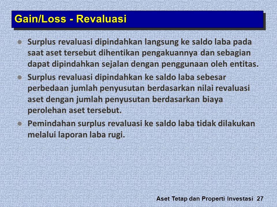 Aset Tetap dan Properti Investasi 27  Surplus revaluasi dipindahkan langsung ke saldo laba pada saat aset tersebut dihentikan pengakuannya dan sebagi