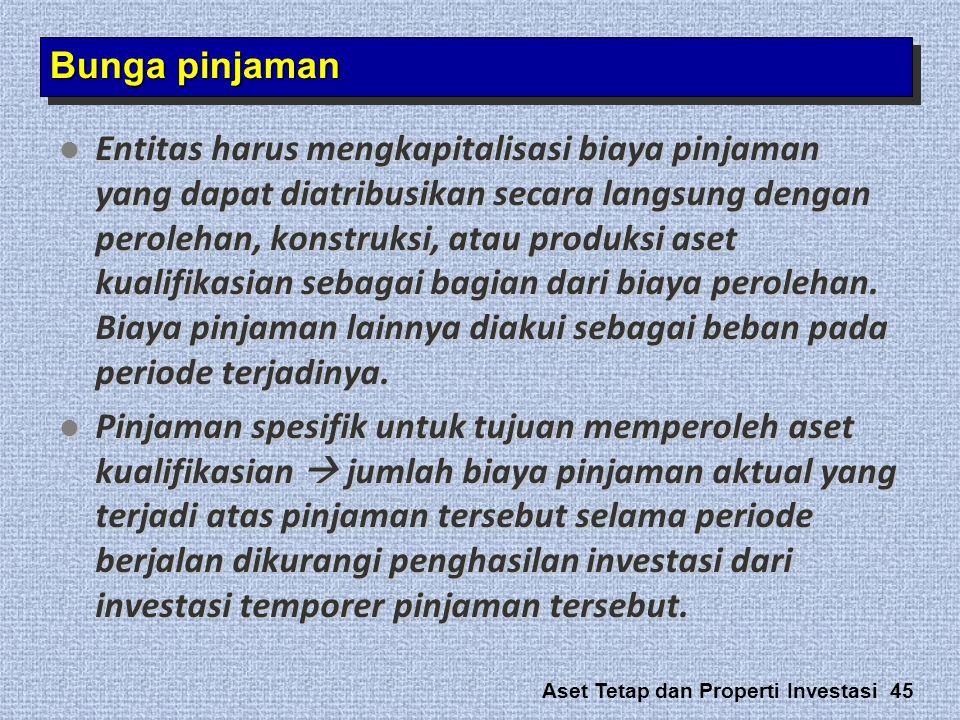 Aset Tetap dan Properti Investasi 45 Bunga pinjaman  Entitas harus mengkapitalisasi biaya pinjaman yang dapat diatribusikan secara langsung dengan pe