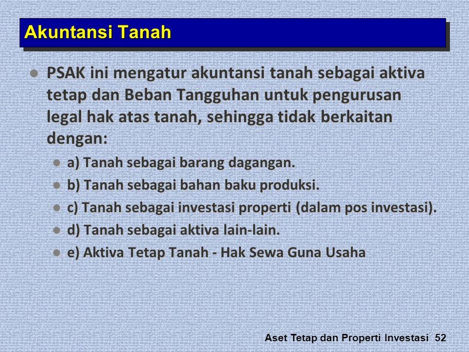Aset Tetap dan Properti Investasi 52 Akuntansi Tanah  PSAK ini mengatur akuntansi tanah sebagai aktiva tetap dan Beban Tangguhan untuk pengurusan leg