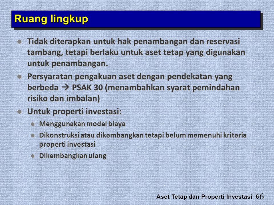 Aset Tetap dan Properti Investasi 6  Tidak diterapkan untuk hak penambangan dan reservasi tambang, tetapi berlaku untuk aset tetap yang digunakan unt