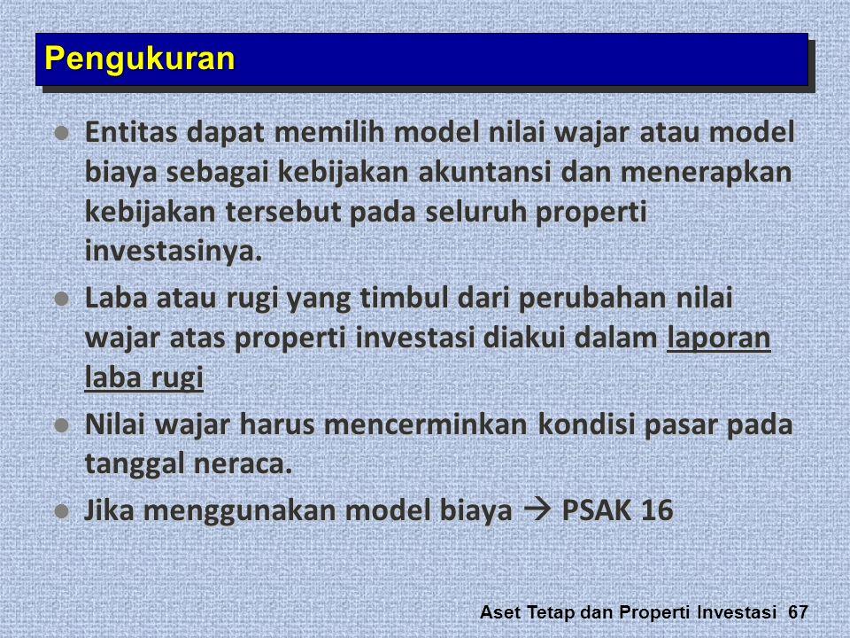 Aset Tetap dan Properti Investasi 67  Entitas dapat memilih model nilai wajar atau model biaya sebagai kebijakan akuntansi dan menerapkan kebijakan t
