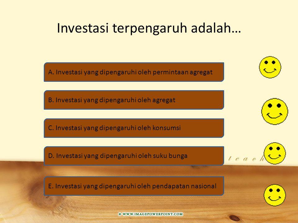 Investasi terpengaruh adalah… A.Investasi yang dipengaruhi oleh permintaan agregat B.