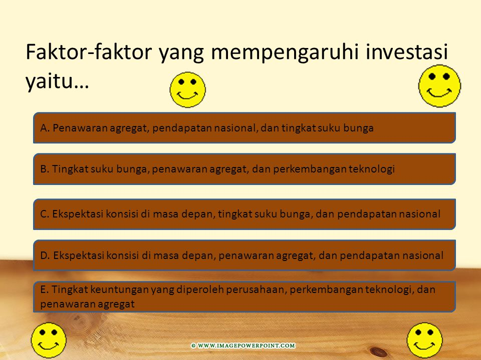 Investasi terpengaruh adalah… A. Investasi yang dipengaruhi oleh permintaan agregat B. Investasi yang dipengaruhi oleh agregat C. Investasi yang dipen
