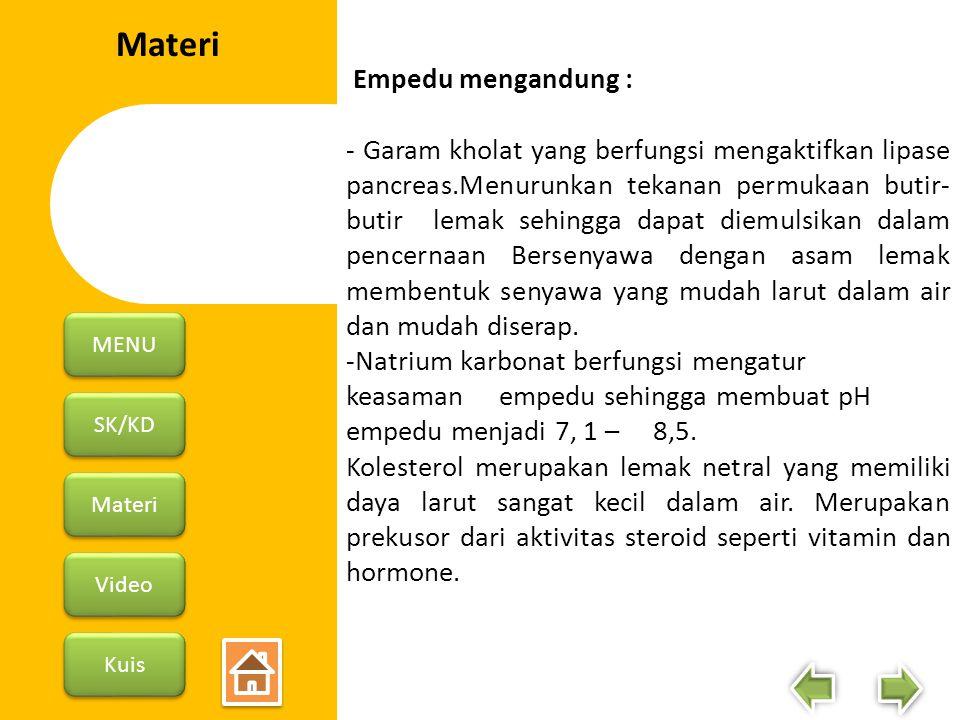 SK/KD Materi Video Kuis MENU Empedu mengandung : - Garam kholat yang berfungsi mengaktifkan lipase pancreas.Menurunkan tekanan permukaan butir- butir