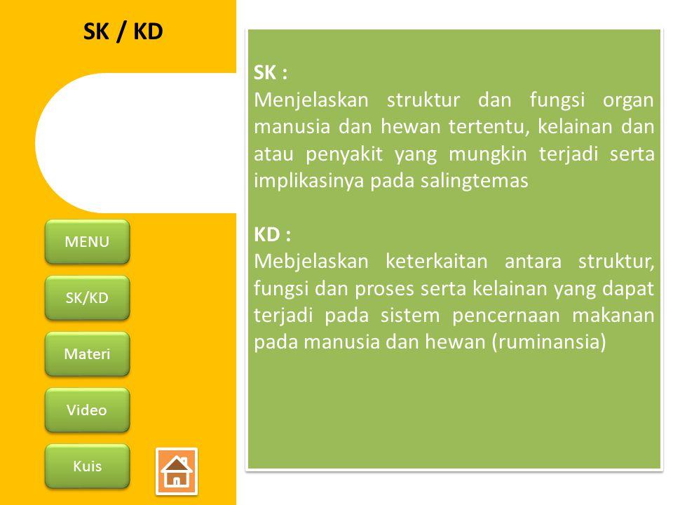 SK/KD Materi Video Kuis MENU SK / KD SK : Menjelaskan struktur dan fungsi organ manusia dan hewan tertentu, kelainan dan atau penyakit yang mungkin te