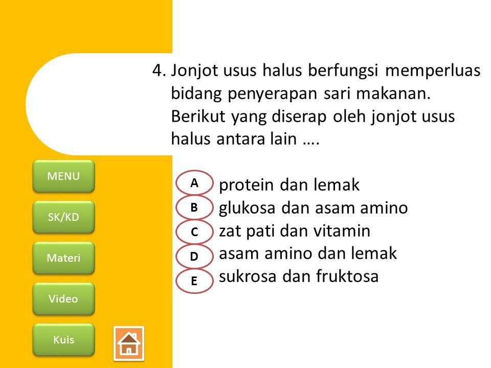 SK/KD Materi Video Kuis MENU 4. Jonjot usus halus berfungsi memperluas bidang penyerapan sari makanan. Berikut yang diserap oleh jonjot usus halus ant