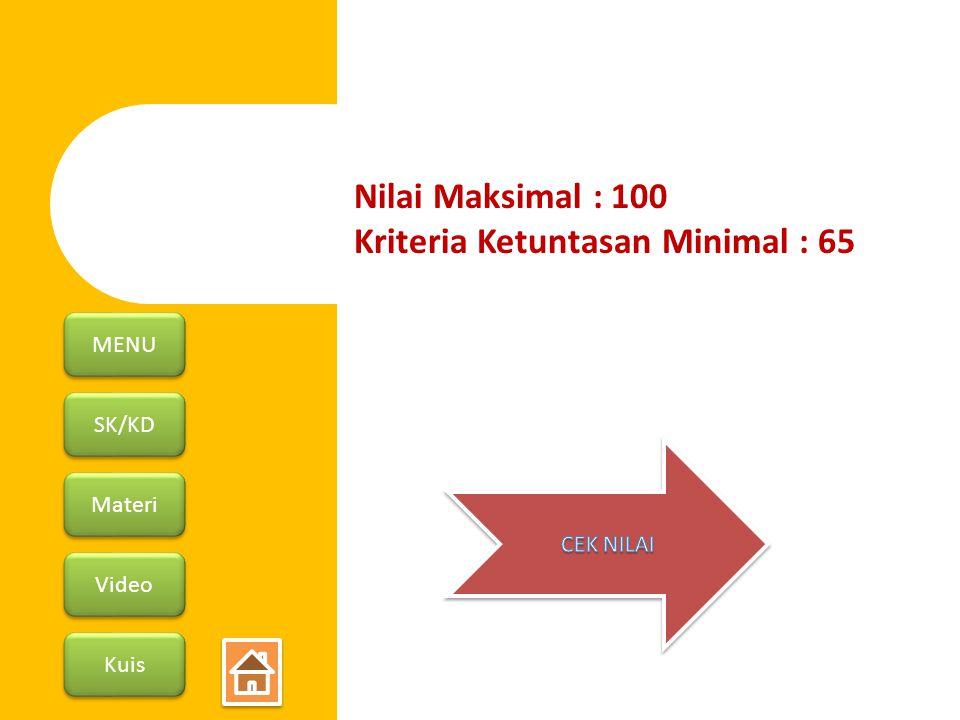 SK/KD Materi Video Kuis MENU Nilai Maksimal : 100 Kriteria Ketuntasan Minimal : 65