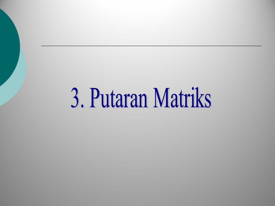 Putaran Matriks Putaran matriks atau transposisi dari matriks A berukuran m×n adalah suatu matriks A T yang berukuran n×m dengan kolom- kolom matriks A sebagai baris-barisnya yang berarti pula bahwa baris-baris matriks A menjadi kolom-kolom matriks A T Jika maka