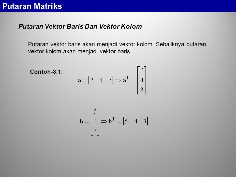 Putaran Vektor Baris Dan Vektor Kolom Putaran Matriks Putaran vektor baris akan menjadi vektor kolom.